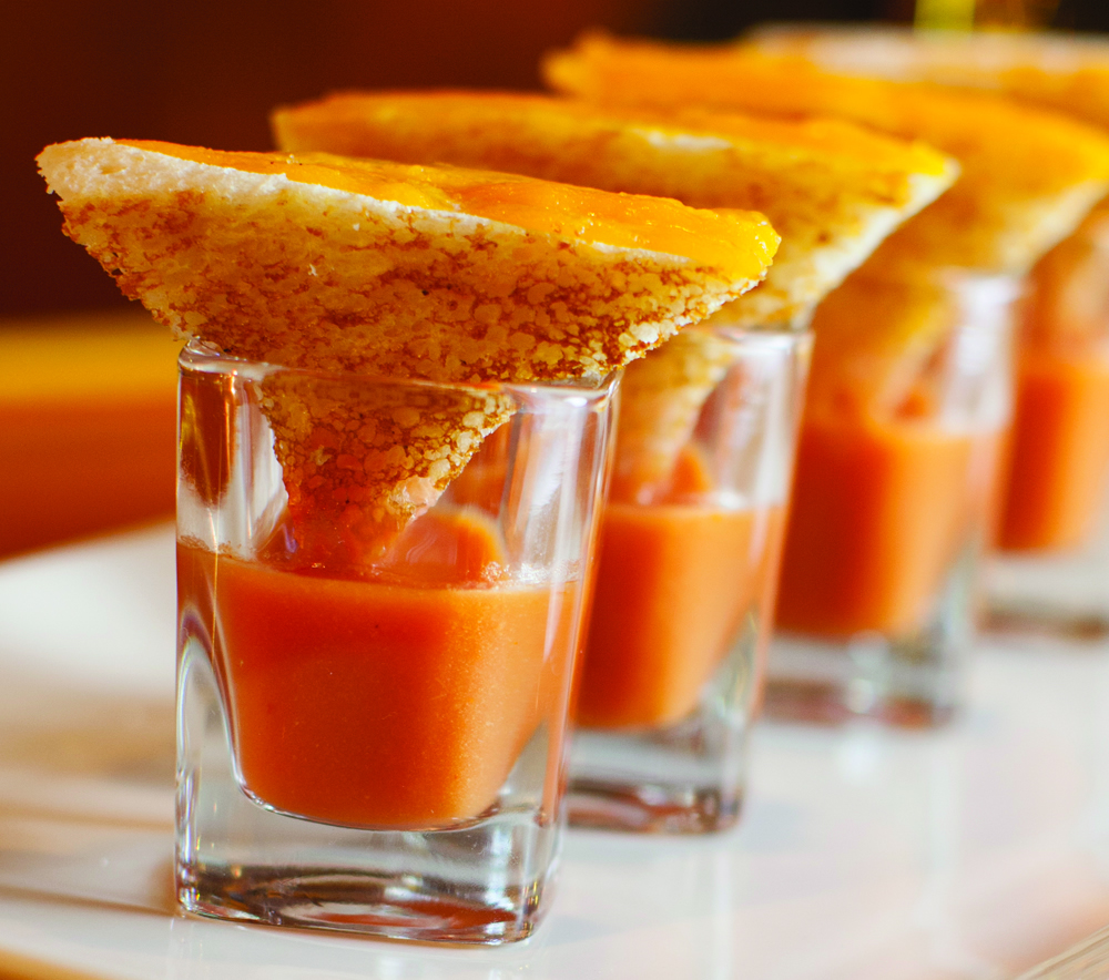 Creamy Tomato Soup Shooters with Bacon Cheese Melts